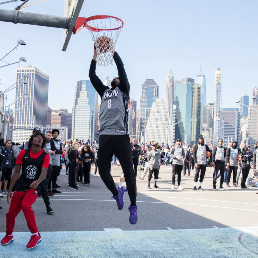 BROOKLYN, NY - October 5: During the Brooklyn Nets Practice in the Park at Pier 2 at the Brooklyn Bridge Park on October 5, 2019 in Brooklyn, New York. (Photo by Allison Joseph).